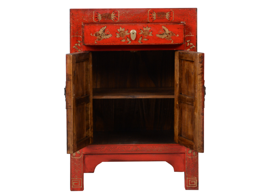 Fine Asianliving Chinese Bedside Table Red Handpainted Butterflies W40xD32xH60cm