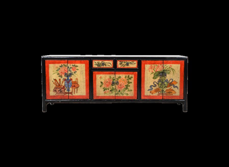 Antiker Chinesischer Schrank Handgemalt B145xT38xH57cm