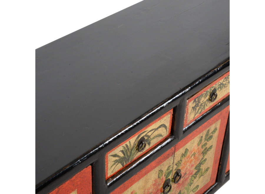 Fine Asianliving Antique Chinese Cabinet Handpainted W145xD38xH57cm