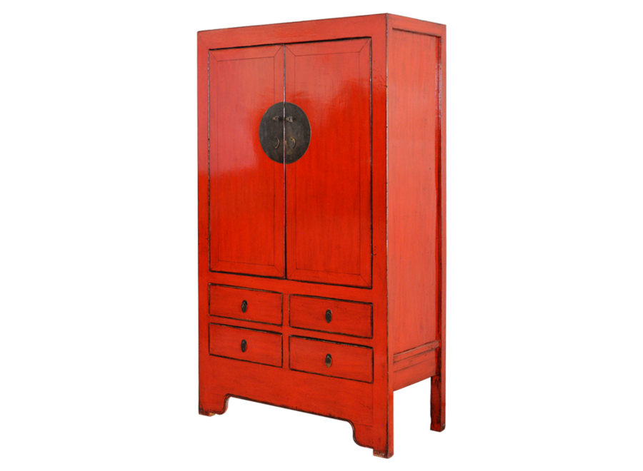 Fine Asianliving Antique Chinese Wedding Cabinet Red Glossy approx. W103x49xH186cm