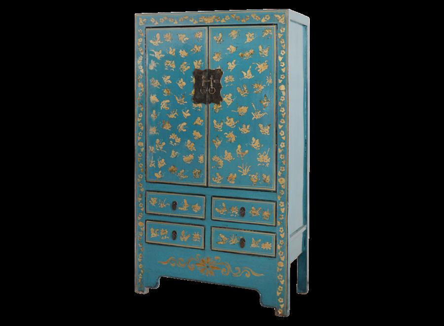 Antiker Chinesischer Hochzeitsschrank Blau Gold Handbemalt B105xT50xH188cm