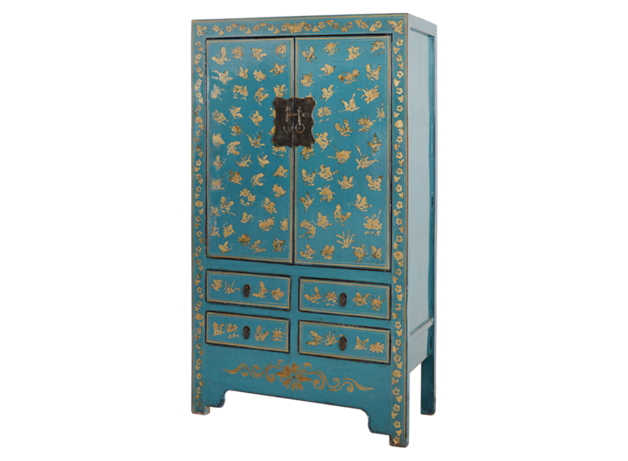 Fine Asianliving Antique Chinese Wedding Cabinet Blue Gold Handpainted approx W105xD50xH188cm