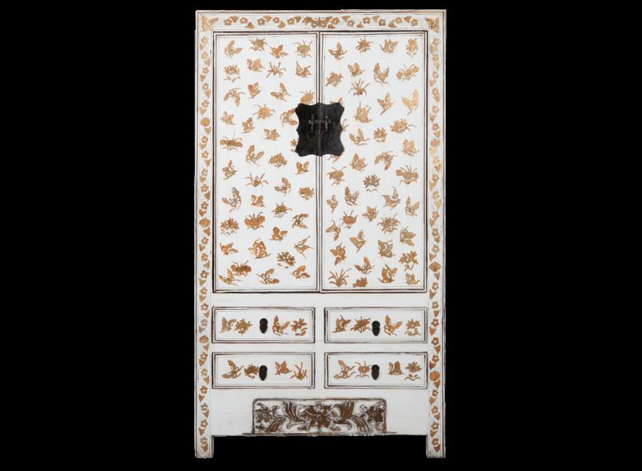 Antiker Chinesischer Hochzeitsschrank Weiß Gold Handbemalt B105xT50xH188cm