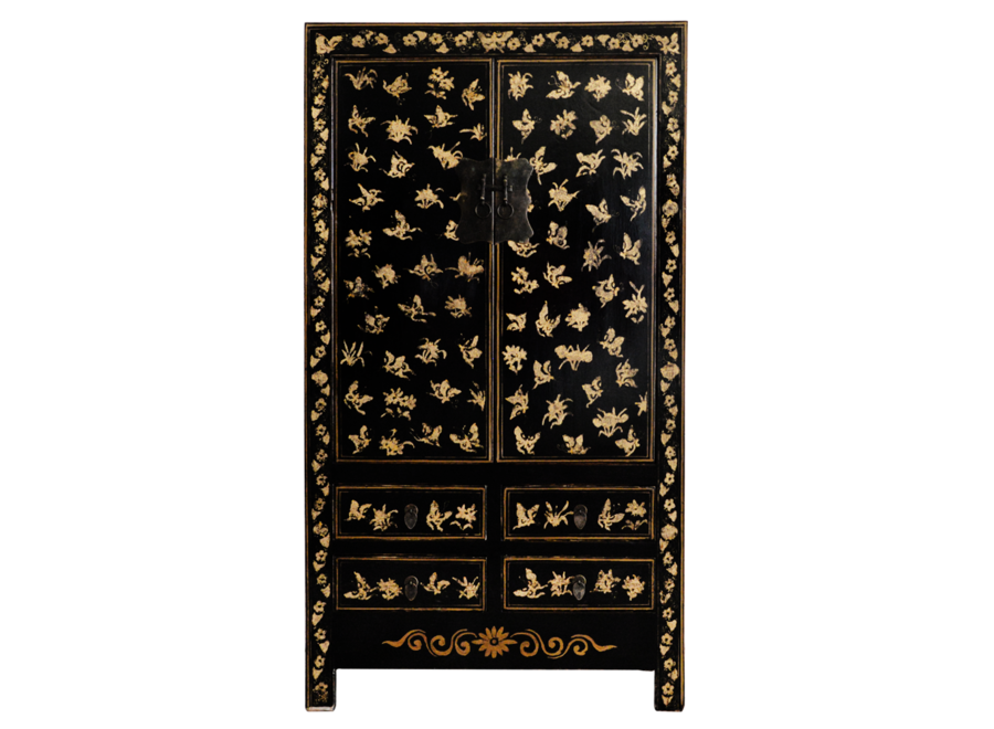 Fine Asianliving Antique Chinese Wedding Cabinet Black Gold Handpainted approx  W105xD50xH188cm
