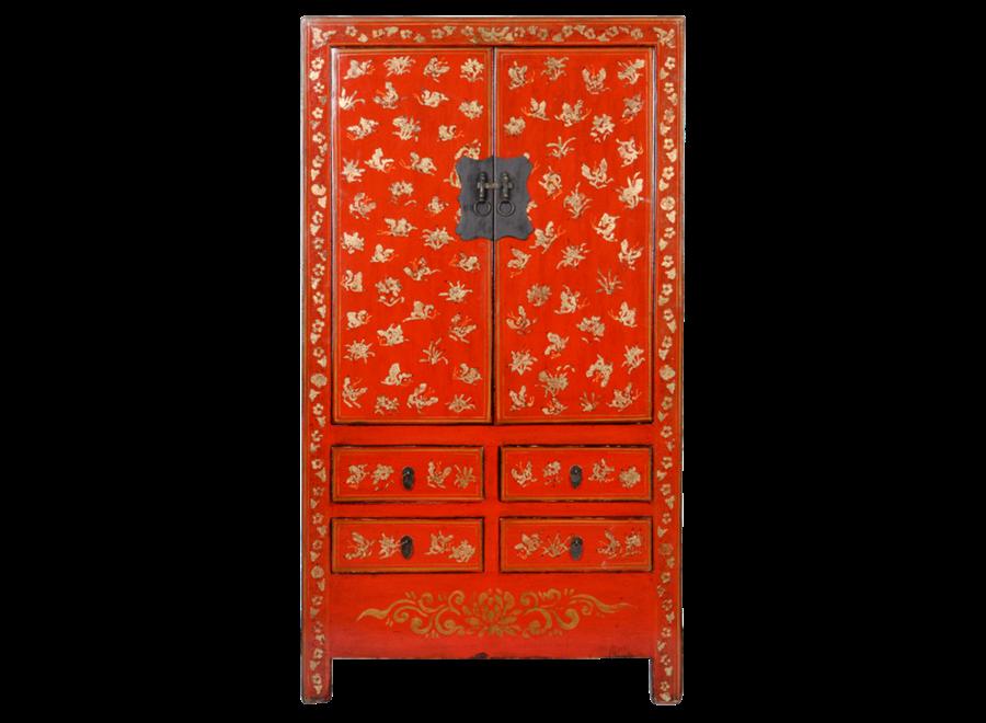 Antiker Chinesischer Hochzeitsschrank Rot Gold Handbemalt B105xT50xH188cm