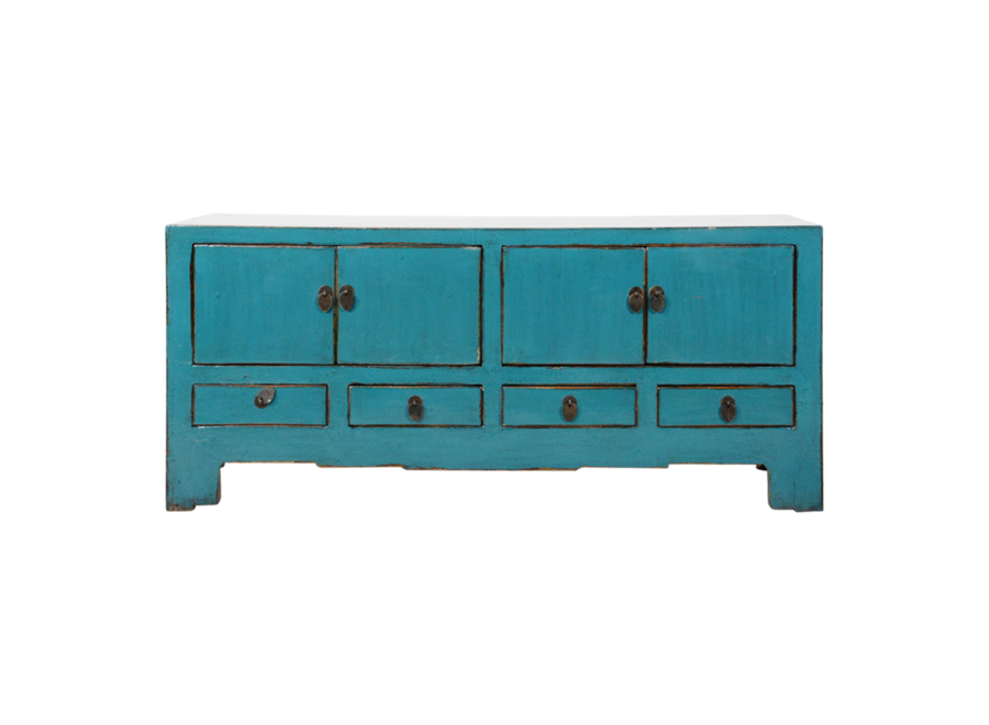 Antike Chinesisches TV Lowboard Schrank Blau Glänzend B135xT39xH60cm