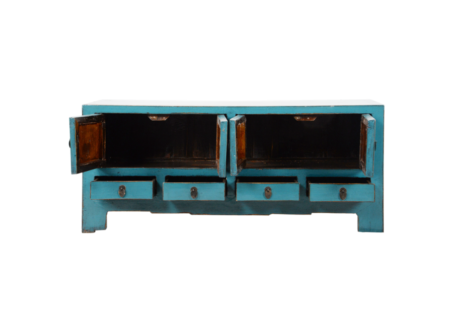 Fine Asianliving Antique Chinese TV Cabinet Blue Glossy W135xD39xH60cm