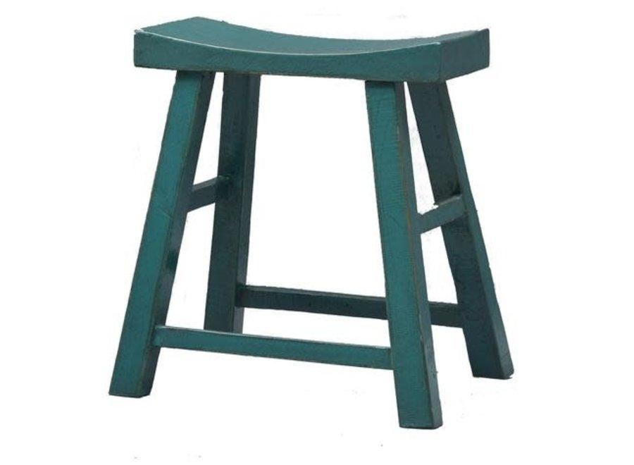 Chinese Stool Blue Teal Glossy W46xD22xH47cm