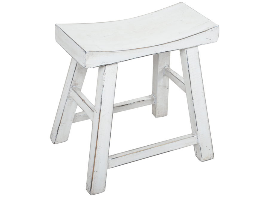 Fine Asianliving Chinese Stool White Glossy W46xD22xH47cm