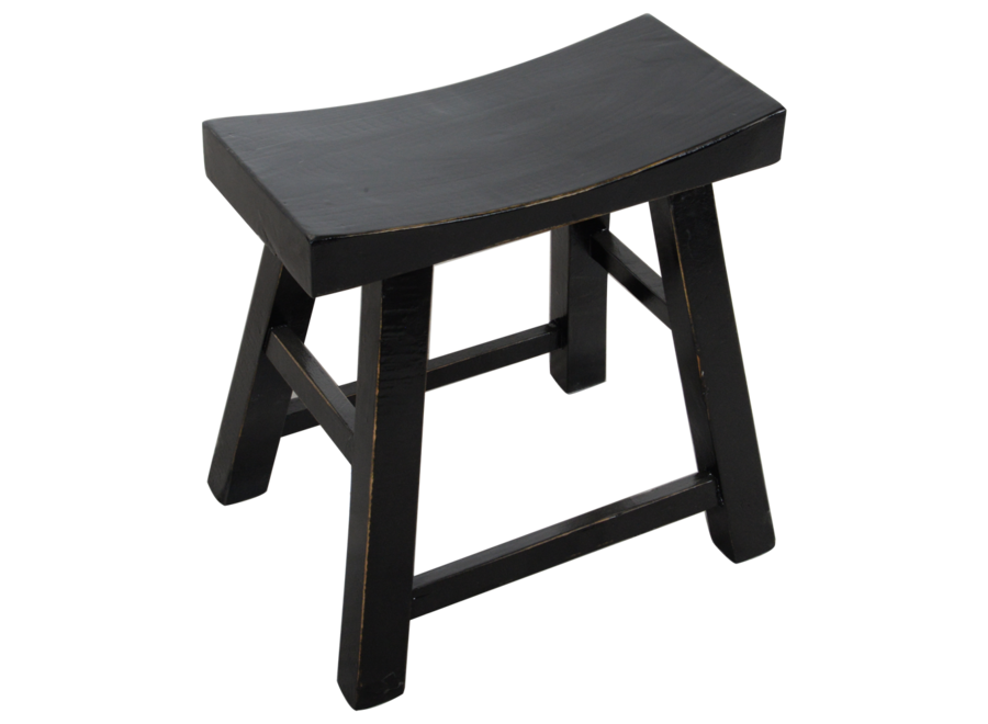 Fine Asianliving Chinese Stool Black Glossy W46xD22xH47cm
