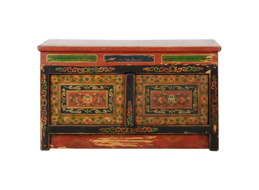 Fine Asianliving Antique Tibetan Cabinet Handcarved Traditional W88xD40xH52cm