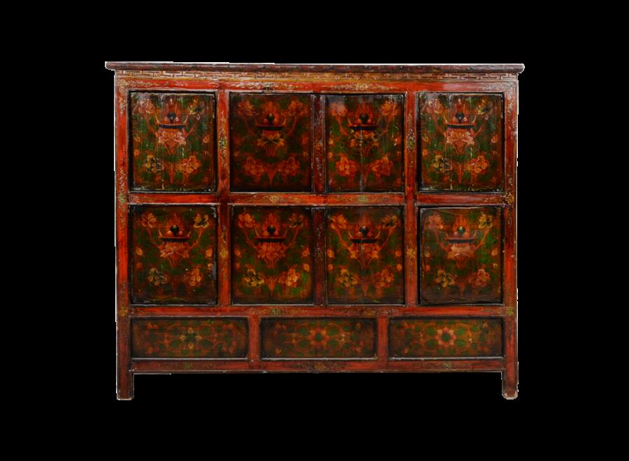 Antique Tibetan Cabinet Handcarved W143xD47xH119cm