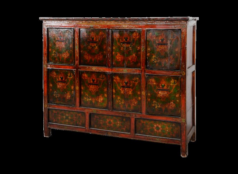 Fine Asianliving Antique Tibetan Cabinet Handcarved W143xD47xH119cm