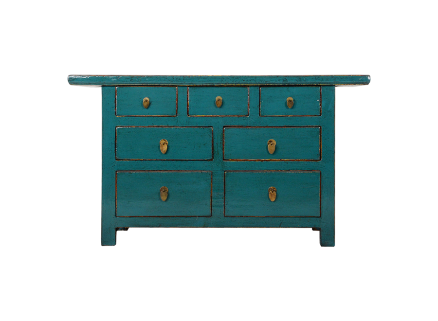 Antique Chinese Chest of Drawers Teal Glossy W142xD45xH81cm
