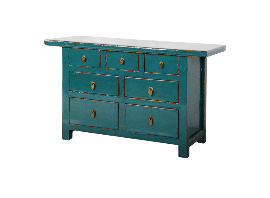 Fine Asianliving Antique Chinese Chest of Drawers Teal Glossy W142xD45xH81cm