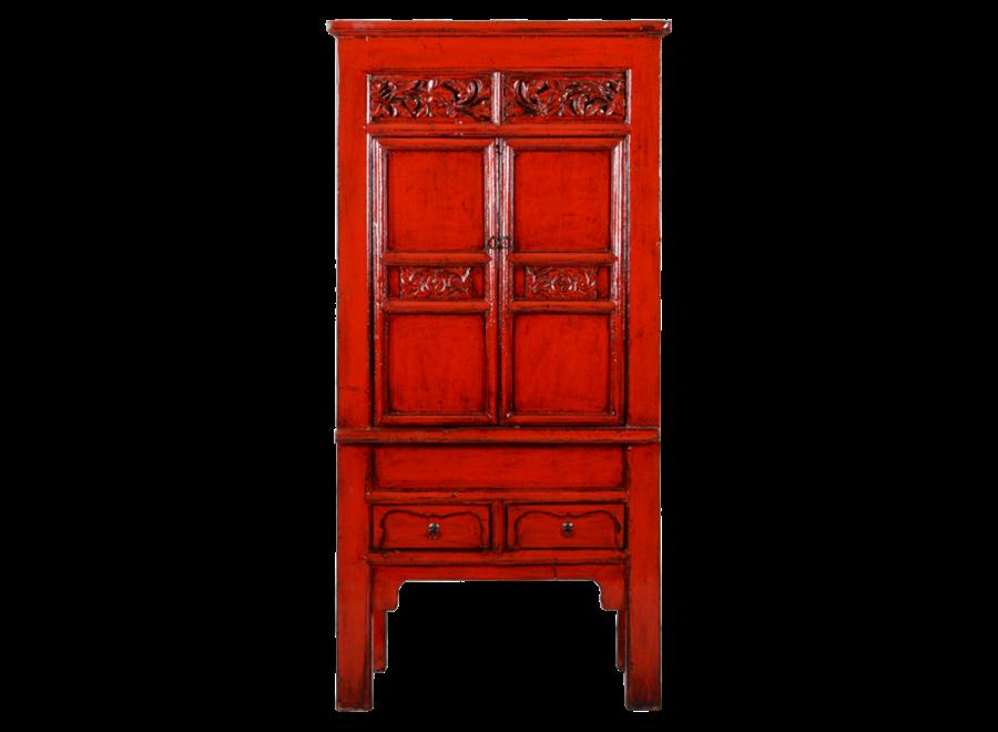 Antiker Chinesischer Schrank Rot Glänzend Handgeschnitzt B84xT45xH181cm