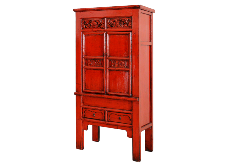 Fine Asianliving Antique Chinese Cabinet Red Glossy Handcarved W84xD45xH181cm