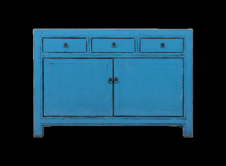 Antikes Chinesisches Sideboard Kommode Blau Glänzend B130xT40xH90cm