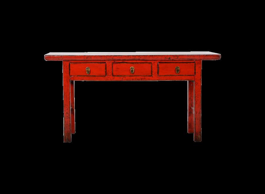 Antiker Chinesischer Konsolentisch Rot Glänzend B165xT40xH84cm