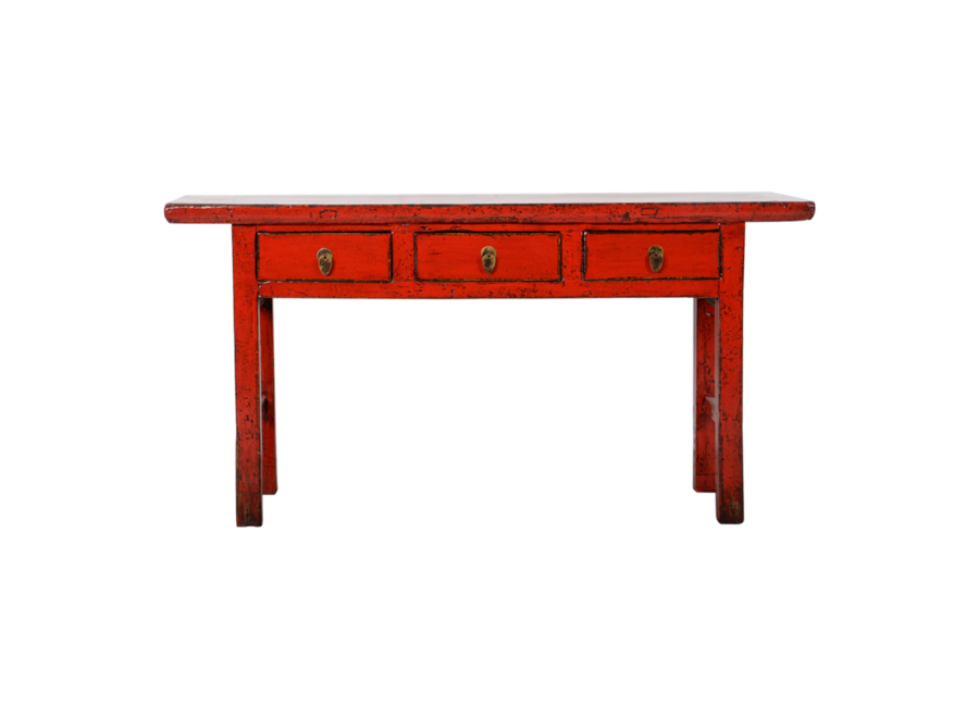 Fine Asianliving Antique Chinese Console Table Red Glossy W165xD40xH84cm