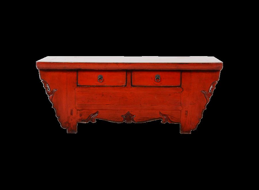 Antike Chinesisches TV Lowboard Schrank Rot Glänzend B107xT44xH42cm