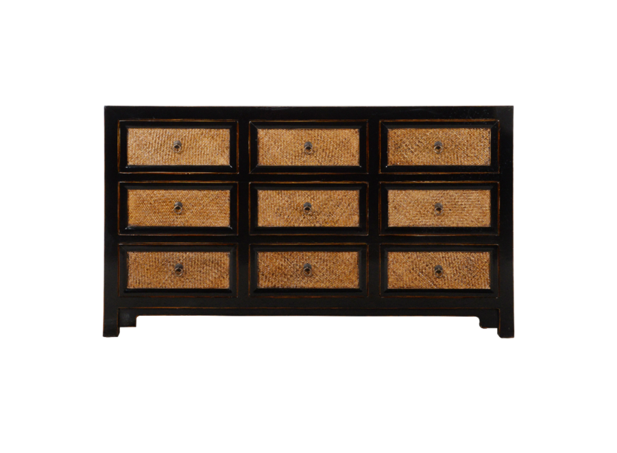 Chinese Chest of Drawers Black Bamboo W140xD41xH80cm