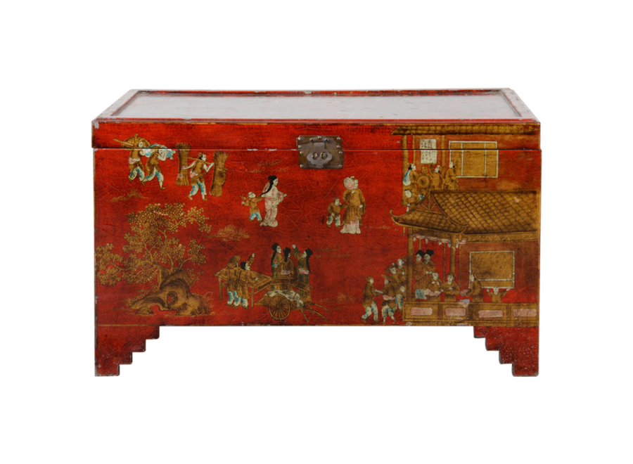 Fine Asianliving Antique Chinese Chest Red Gold Handpainted W102xD51xH61cm