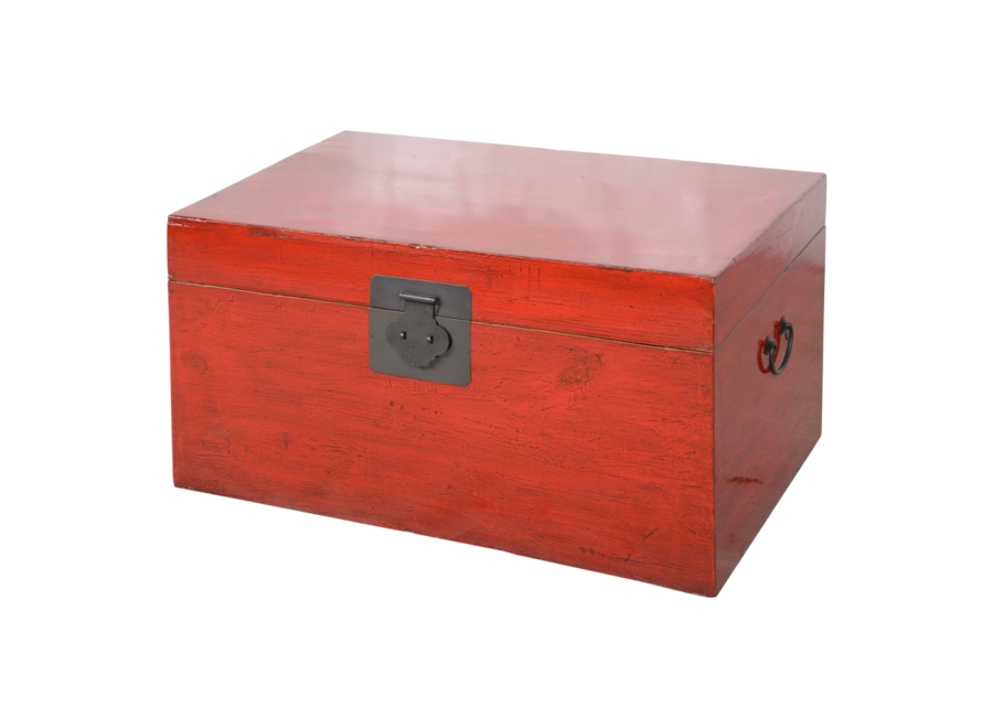 Antique Chinese Chest Red Glossy W92xD53xH41cm