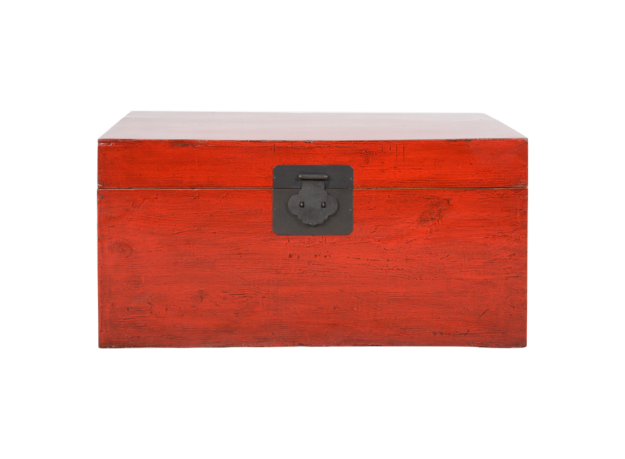 Fine Asianliving Antique Chinese Chest Red Glossy W92xD53xH41cm