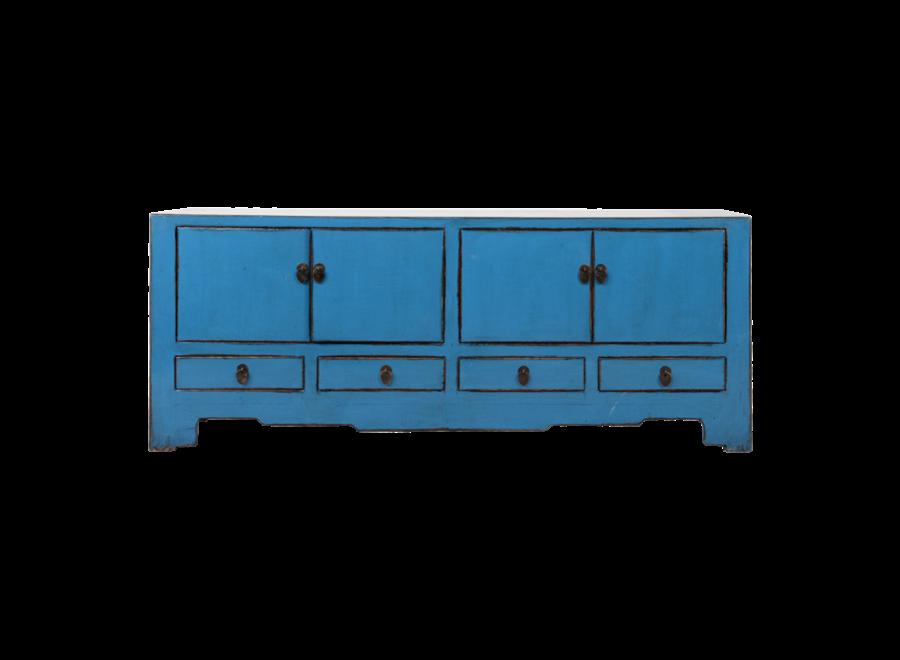 Antike Chinesisches TV Lowboard Schrank Blau Glänzend B155xT39xH63cm