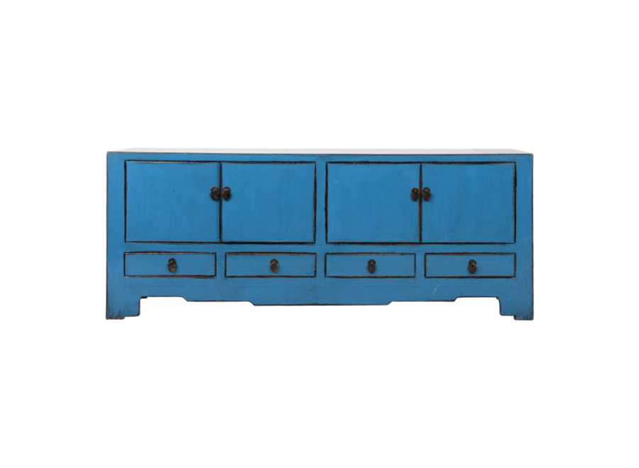Fine Asianliving Antique Chinese TV Cabinet Blue Glossy W155xD39xH63cm