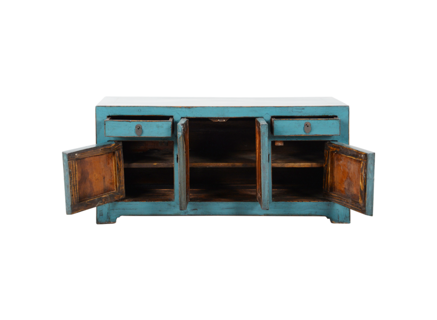 Fine Asianliving Antique Chinese TV Cabinet Blue Glossy W117xD37xH56cm