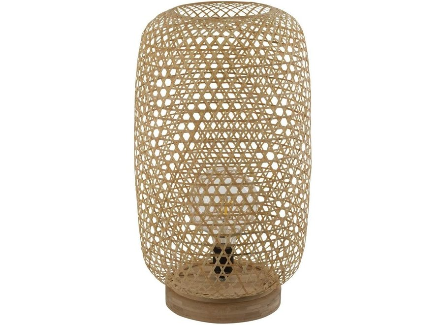 Tischlampe Bambus Webbing Handgefertigt Sanako W28xD21xH27cm