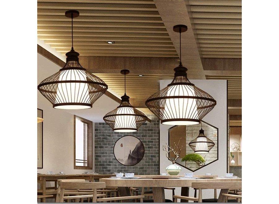 Fine Asianliving Bamboo Hanging Lamp Black Oliver D46xH40cm