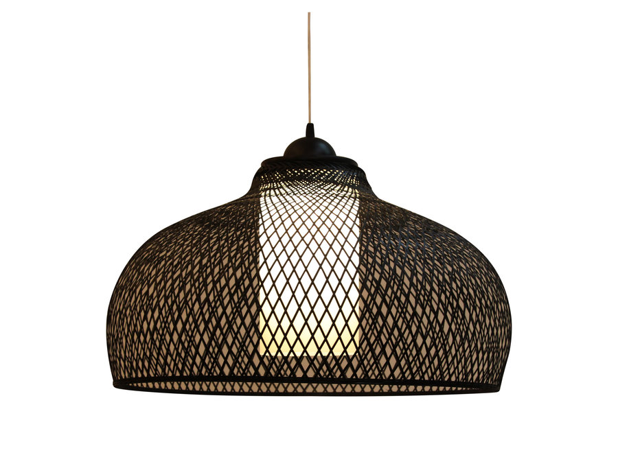 Fine Asianliving Bamboo Hanging Lamp Black Robin D52xH30cm