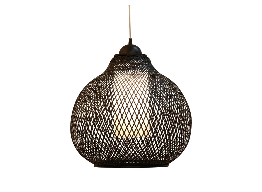 Fine Asianliving Bamboo Hanging Lamp Black Robinson D41xH35cm