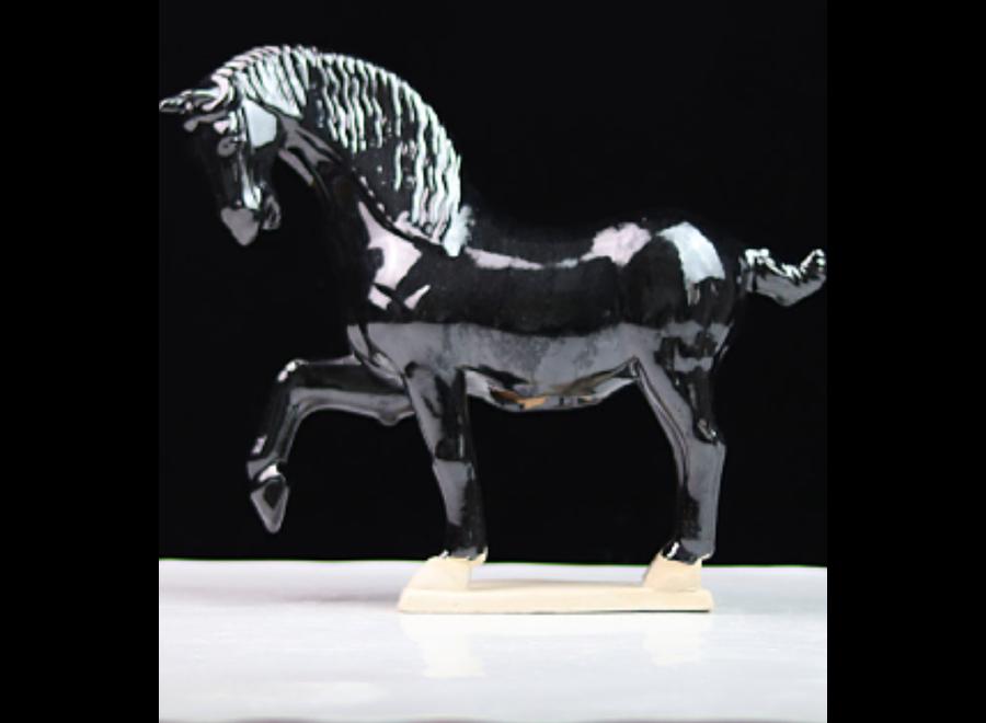 Ceramic Chinese Tang Dynasty Horse Black Handmade W41xD15xH41cm