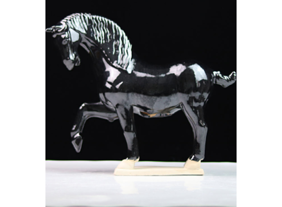 Fine Asianliving Ceramic Chinese Tang Dynasty Horse Black Handmade W41xD15xH41cm