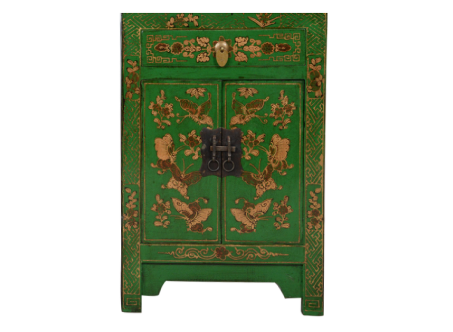 Fine Asianliving Chinese Cabinet Green Handpainted Butterflies W58xD37xH85cm