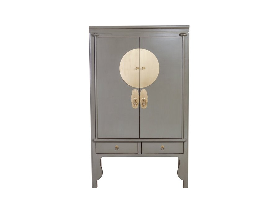 Chinese Wedding Cabinet Olive Grey - Orientique Collection W100xD55xH175cm