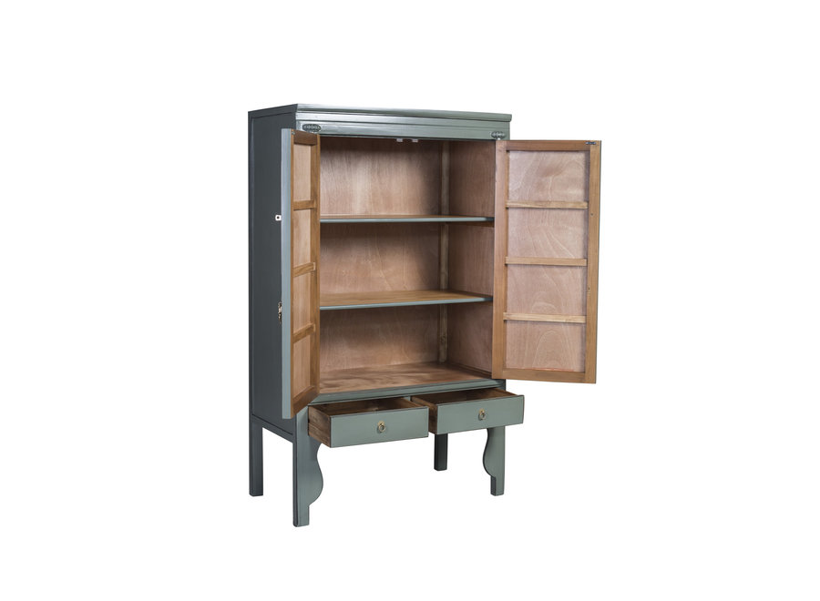 Fine Asianliving Chinese Wedding Cabinet Olive Grey - Orientique Collection W100xD55xH175cm