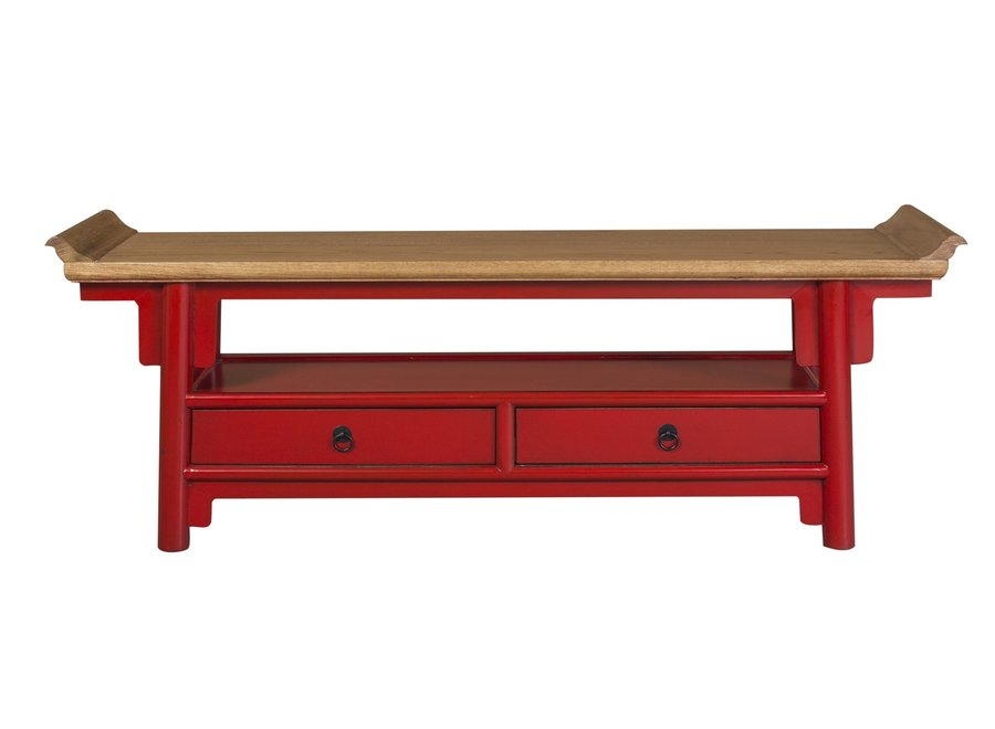 Chinese TV Cabinet sideboard Red Qiaotou White two drawers