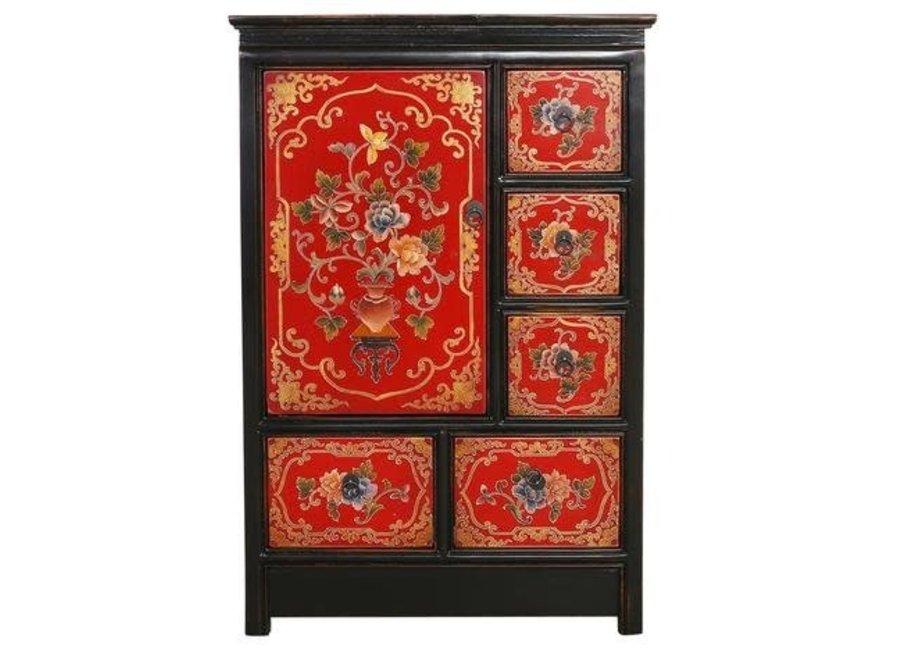 Tibetan Cabinet Red Black Handcrafted Flowers