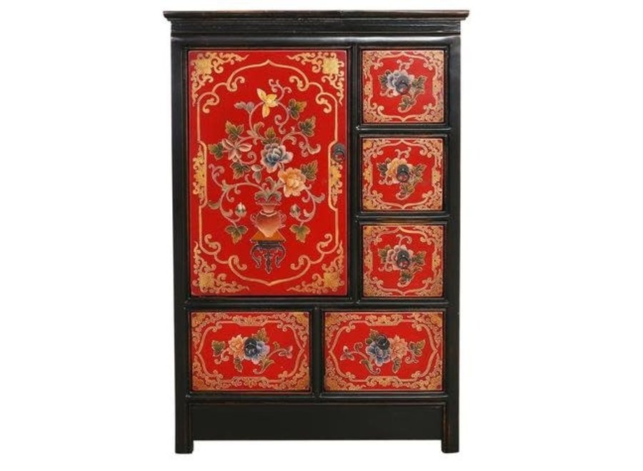 Fine Asianliving Tibetan Cabinet Red Black Handcrafted Flowers