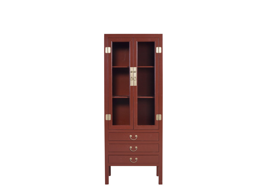 Chinese Bookcase Glass-Door Cabinet Scarlet Rouge W70xD40xH182cm - Orientique Collection