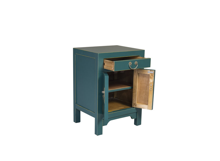 Fine Asianliving Chinese Bedside Table Teal Blue W42xD35xH60cm