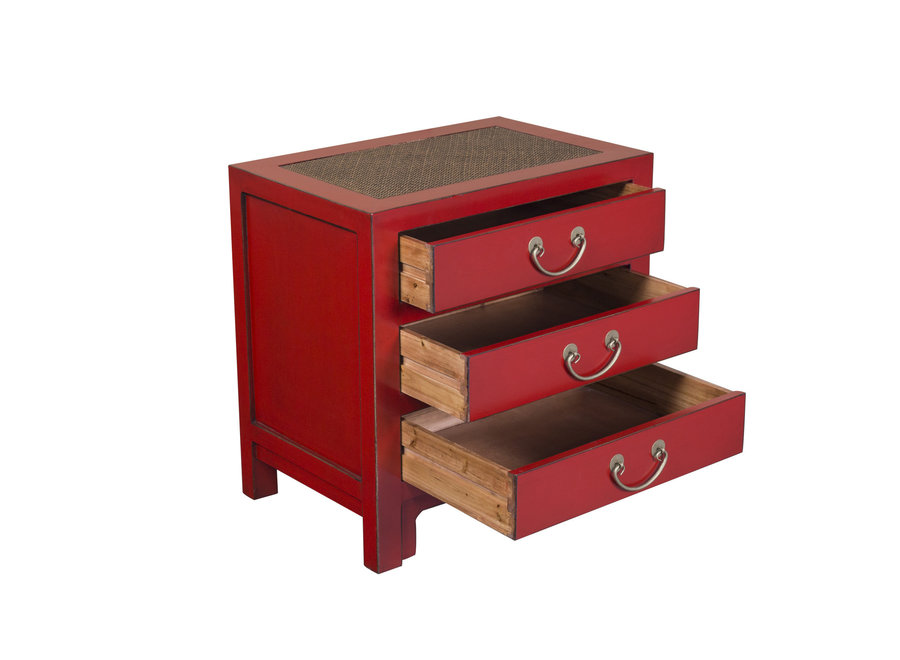 Fine Asianliving Chinese Bedside Table Lucky Red Bamboo Webbing W60xD40xH60cm