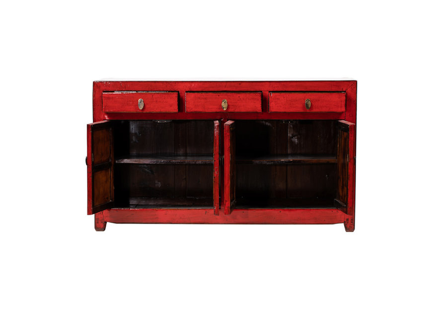 Antique Chinese Sideboard Glossy Red W158xD41xH91cm
