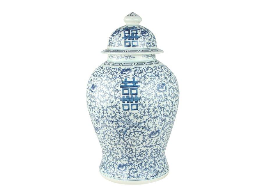 Chinesischer Ingwertopf Porzellan Doppelglück Blau und Weiß D31xH52cm