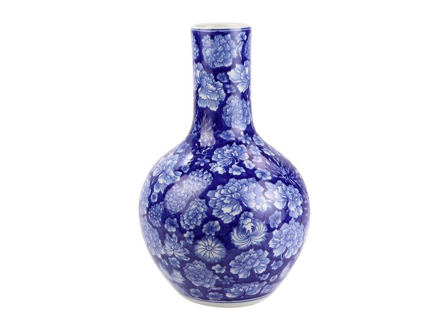 Chinesische Vase Porzellan Pfingstrose Marineblau D22xH35cm